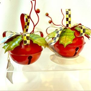 2 Round Top Collection Red Bells w Checked ribbon
